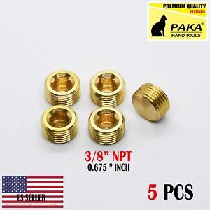 """5Pcs 3/8"""" NPT Male Brass Internal Hex Head Socket Pipe Plugs end cap"""