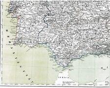 Echte 168 Jahre alte Landkarte SPANIEN u. PORTUGAL Mapa de España en Lienzo 1849