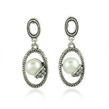 Vintage Style Antique Silver Hoop Middle White Pearl Drop Earrings Studs E123