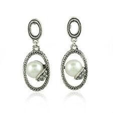 Vintage Stil Antik Silber Creole Mittel Weiße Perle Ohrhänger Stecker E123