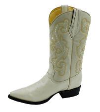 Men's Genuine Leather Plain Western Cowboy Boots Puntal Toe