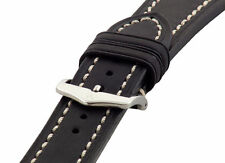 Hirsch LIBERTY Artisan Leather Contrast Stitch Watch Band Strap Black 22mm