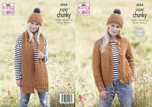 King Cole Ladies Super Chunky Knitting Pattern Womens Cardigan Scarf & Hat 5554