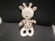 doudou hochet girafe blanc beige OBAIBI