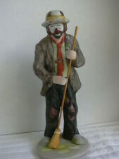 Emmett Kelly Jr. Clown Sweeping with Broom Porcelain Figurine Statue by: Flambro