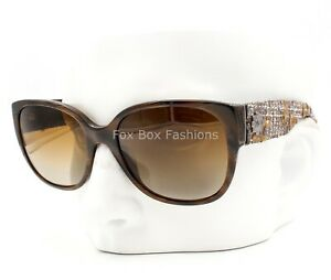 Chanel 5237 617T5 Sunglasses Brown Marble Tweed Temples Polarized Silver CC Logo
