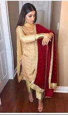 Punjabi pant suit Bollywood Designer Indian silk SALWAR KAMEEZ velvet dupatta