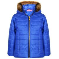 New Girls Kids Puffer Bubble Warm Padded Fur Collar Hooded Quilted Jacket 6-12 Y