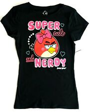 Angry Birds Cotton T-Shirt Super Cute and Nerdy Black Girl's Red Bird Bow Small