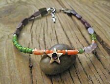 Ankle Bracelet of Pink Coral Peridot Sterling Silver Sundance Green Leather