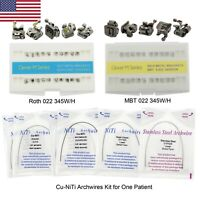 Dental Orthodontic Self-ligating Bracket Copper Niti Arch Wire Kit Roth 022