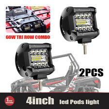 "2pcs 4"" docking led lights pods 60W combo triple row cube FOR 4X4WD ATV SUV C7H"