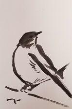 JOSE TRUJILLO SIGNED COA ABSTRACT MODERN INK WASH LITTLE FINCH BIRD NEW 6X9