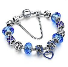 NEW Woman's/Girls Blue Crystal Silver Plated Charm Bracelet - With Crystal Heart