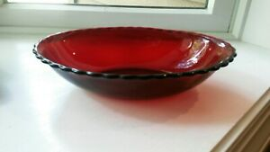 "Vintage Anchor Hocking Royal Ruby Red Glass 8 5/8"" Scalloped Oval Serving Bowl"