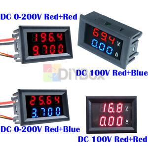 DC 0-200V 100V 10A 3/4 Bit Voltmeter Ammeter Red/Red Red/Blue LED Amp Wires DIY
