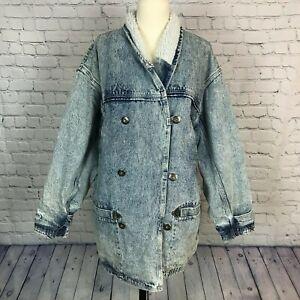 Women\u2019s size Large pleated front stub collar 1980\u2019s denim jacket