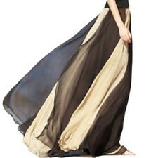 TopTie Long Full Circle Maxi Skirt Chiffon Flowing Swing Alternating Color