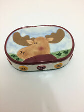 Moose Buttons  Soap Dish  Cabin  Ceramic Bathroom Hand Painted
