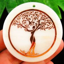 50x2mm White Shell Round Life Of Tree Pendant Bead SH990