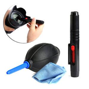 3in1 Lens Cleaner Set DSLR VCR Camera Pen Brush DustBlower Cleaning Cloth K*DE