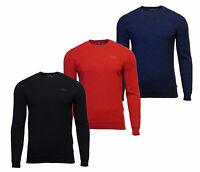 Superdry Mens New Orange Label Crew Neck Cotton Jumper Long Sleeve Black Blue