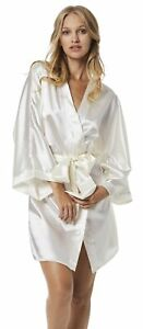 Ecru Satin Finish Plain Design Dressing Gown Robe For Ladies