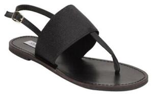 STEVE MADDEN SONIA BLACK STRAPPY FLAT SANDALS ANKLE STRAP sz 6