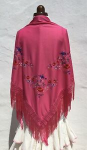 Vintage Spanish Flamenco Shawl Hot Pink/Rainbow Floral Embroidery Large Size