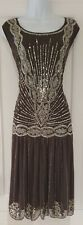Womens Joanna Hope Gunmetal Beaded Sequin Charleston Downton Peaky Dress 18.