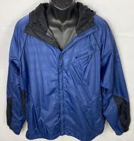 Mens Columbia Full Zip Nylon Jacket Sz XL Hooded Blue/Black Toggles Pockets NWOT