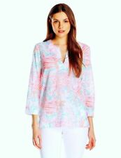 New Lilly Pulitzer Amelia Island Tunic Resort White Pink CRAB Getting Steamy Med