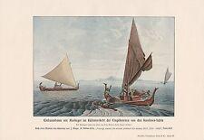 Einbaum Auslieger Fischer Fischfang Karolinen-Inseln FARBDRUCK von 1913