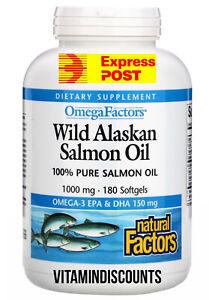 Fish Oil Salmon 1,000 Mgs 180 Softgels Wild Alaskan Omega Factor