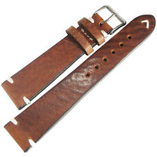 20mm Mens Fluco Hunter Tobacco Brown German Leather Aviator Watch Band Strap