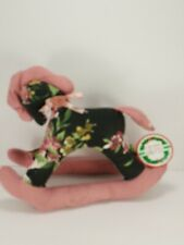 "Victorian Rocking Horse Vintage Black Pink Roses Plush Stuffed Animal 8"" Tall"