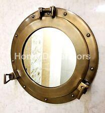 """15"""" Maritime Brass Porthole Round Mirror Nautical Boat Ship Wall Porthole Mirror"""