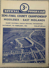 More details for middlesex v east midlands - semi final county championship 1952/53 @ twickenham