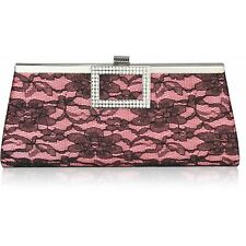 LeahWard Women's Satin Lace Diamante Clutch Evening Bag Purse For Bridal Night O