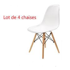 Lot de 4 chaises avec pieds en bois chaises nordiques salle à manger Blanche