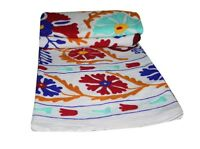 Indian Handmade Embroidery  Suzani Blanket Throw Quilt Twin Vintage Bed Cover
