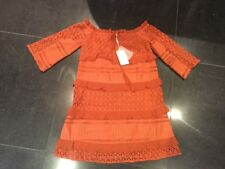 NWT Foxiedox Ladies Small UK 10 Burnt Orange  3/4 Sleeved Lace Dress S1241DR