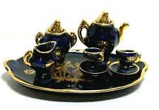 Limoges France Artisanal Courting Scene Dollhouse Miniature Tea Set w/ Tray