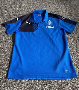 Men's Blue Glasgow Rangers Football Club Embroidered Polo Shirt  Size XL Puma