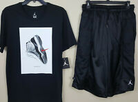 NIKE AIR JORDAN XI RETRO 11 CONCORD OUTFIT SHIRT + SHORTS BLACK RARE (SZ MEDIUM)