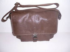 Womens Fossil Brown Leather Messenger Travel Shoulder Bag