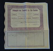 ACTION Compagnie des Tramways de l'Est parisien 1946 titre bond share stock