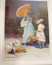 Victorian Garden Mother Daughters Flowers Signed Limited Print by James Verdugo