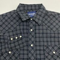 Wrangler Pearl Snap Shirt Men's Size Large Long Sleeve Black Gray Plaid Casual