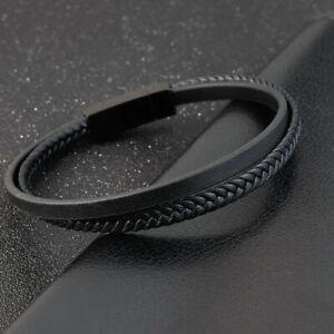 WOODII Bracciale Uomo Cuoio Acciaio Inox Cinturino Magnetico Braccialetto